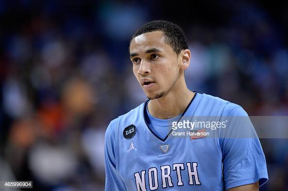 Marcus Paige of the North Carolina Tar Heels waits for play to resume against the Louisville Cardinals during the quarterfinals of the ACC Basketball...