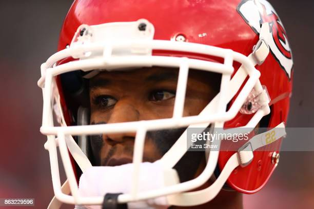 Marcus Peters of the Kansas City Chiefs looks on prior to their NFL game against the Oakland Raiders at OaklandAlameda County Coliseum on October 19...