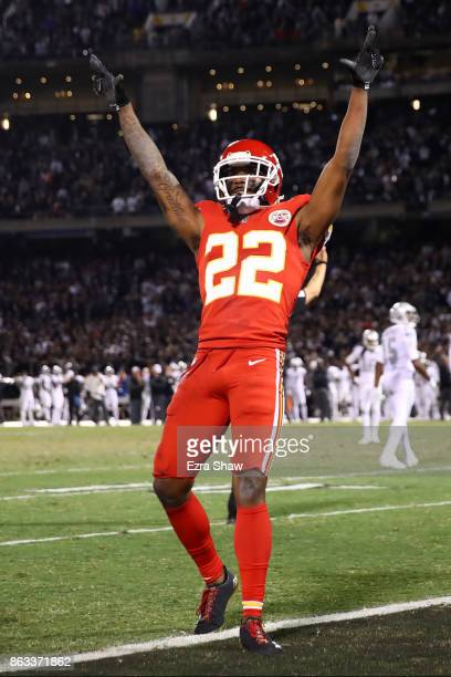 Marcus Peters of the Kansas City Chiefs reacts after a pass interference call against Michael Crabtree of the Oakland Raiders during their NFL game...