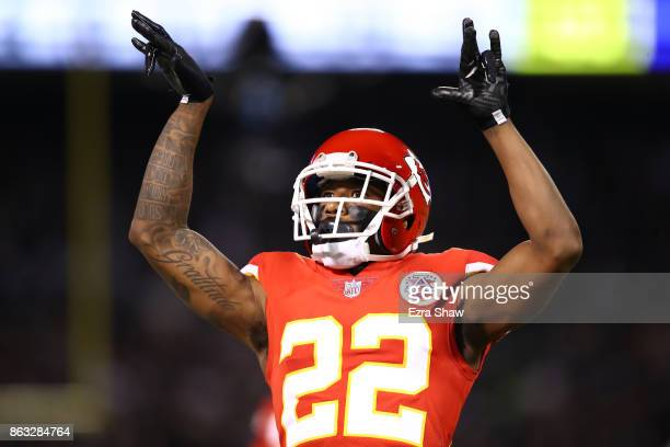 Marcus Peters of the Kansas City Chiefs reacts after a play against the Oakland Raiders during their NFL game at OaklandAlameda County Coliseum on...
