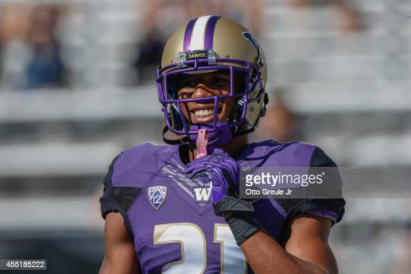 Marcus Peters of the Washington Huskies looks on prior to the game against the Eastern Washington Eagles on September 6 2014 at Husky Stadium in...
