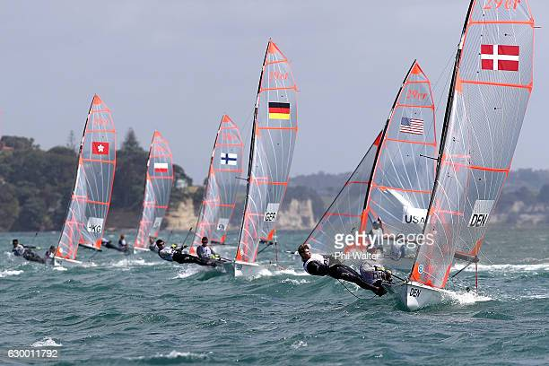 Marcus Piron Kirketerp and Sebastian Olsen of Denmark compete in the Boys 29er during the Youth Sailing World Championships on December 16 2016 in...