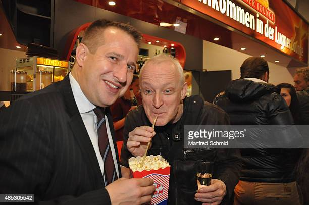 Marcus Pohanka and Gary Howard poses for a photograph during the 'Kingsman' Vienna Premiere at Lugner Lounge Kino on March 5 2015 in Vienna Austria