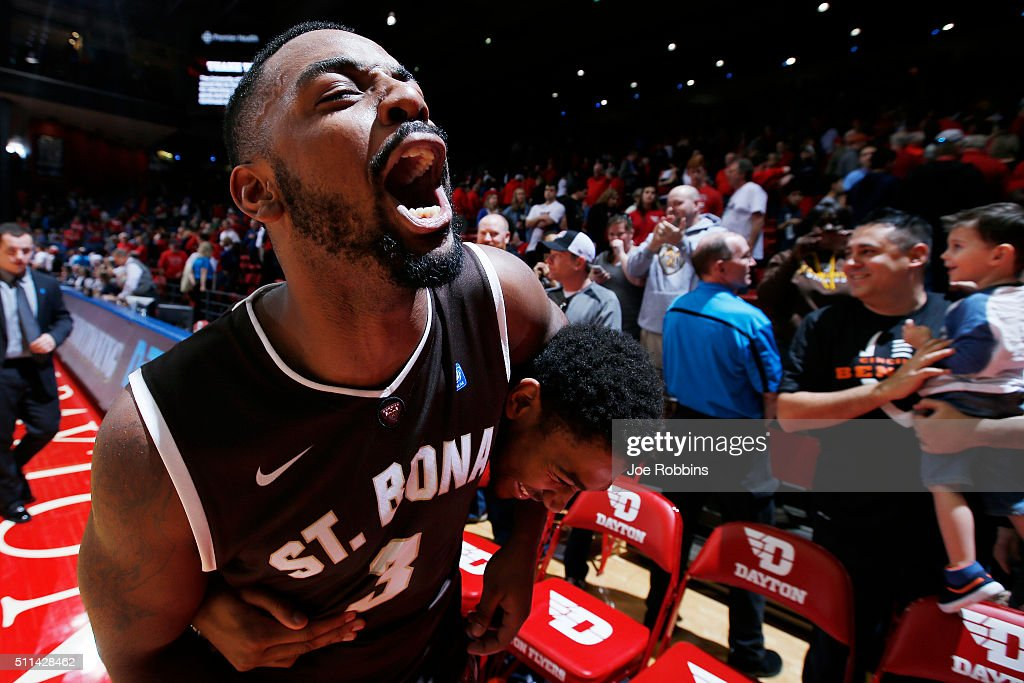 Marcus Posley of the St Bonaventure Bonnies celebrates after a 7972 win over the Dayton Flyers at University of Dayton Arena on February 20 2016 in...
