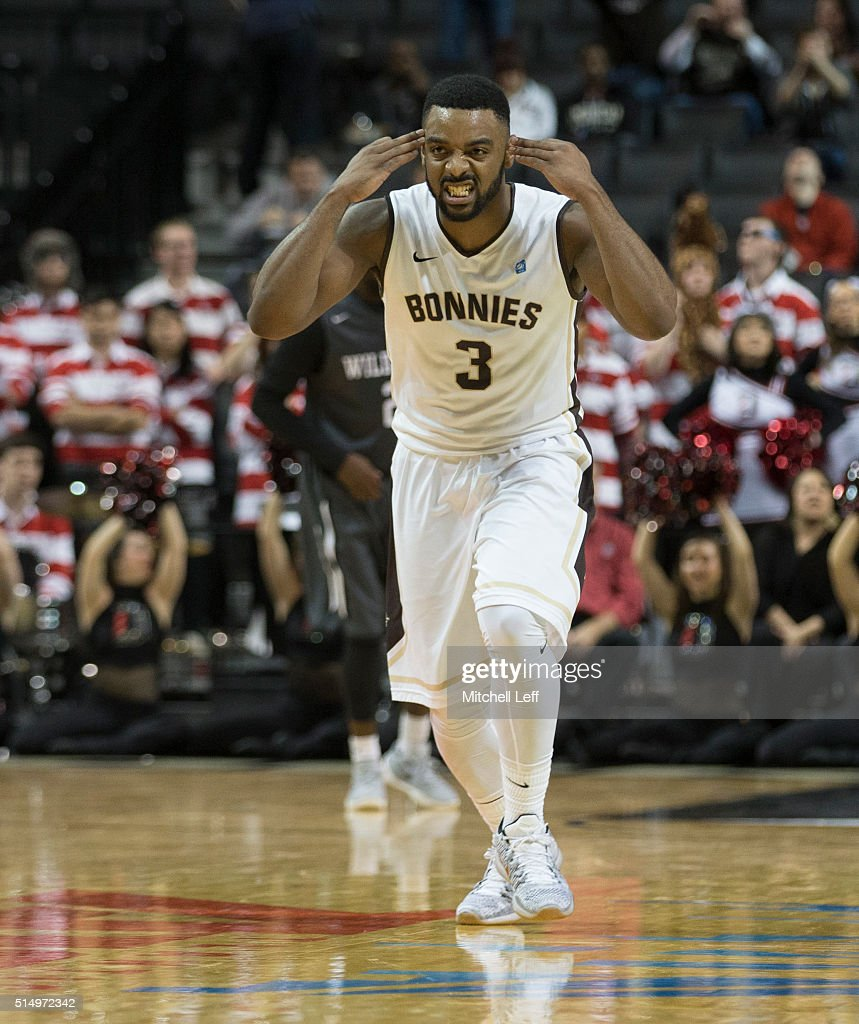 Marcus Posley of the St Bonaventure Bonnies reacts in the game against the Davidson Wildcats in the quarterfinals round of the men's Atlantic 10...
