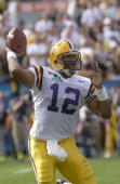 Marcus Randall of the LSU Tigers passes against the Iowa Hawkeyes during the Capital One Bowl at the Florida Citrus Bowl on January 1 2005 in Orlando...