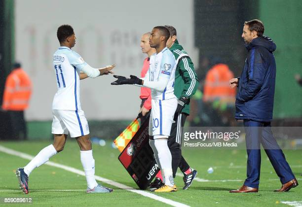 Marcus Rashford and Daniel Sturridge of England during the FIFA 2018 World Cup qualifier between Lithuania and England on October 8 2017 in Vilnius...