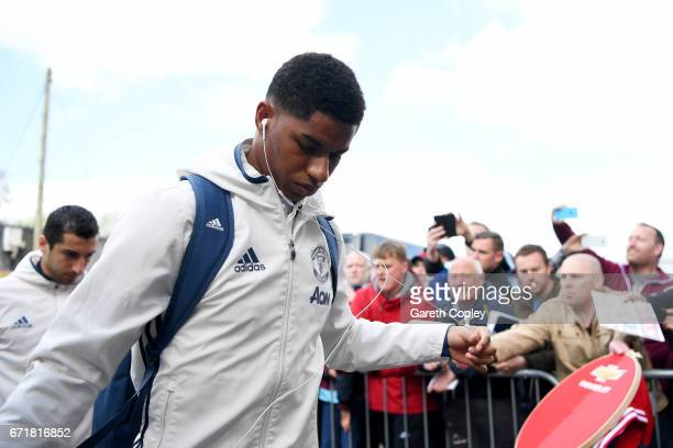 Marcus Rashford and Henrikh Mkhitaryan of Manchester United arrive for the Premier League match between Burnley and Manchester United at Turf Moor on...
