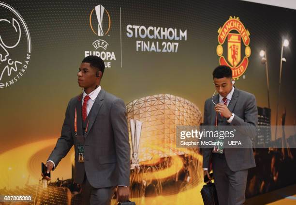 Marcus Rashford and Jesse Lingard of Manchester United arrive prior to the UEFA Europa League Final between Ajax and Manchester United at Friends...
