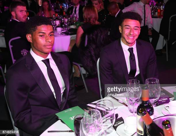 Marcus Rashford and Jesse Lingard of Manchester United attend the annual United for UNICEF gala dinner at Old Trafford on November 15 2017 in...