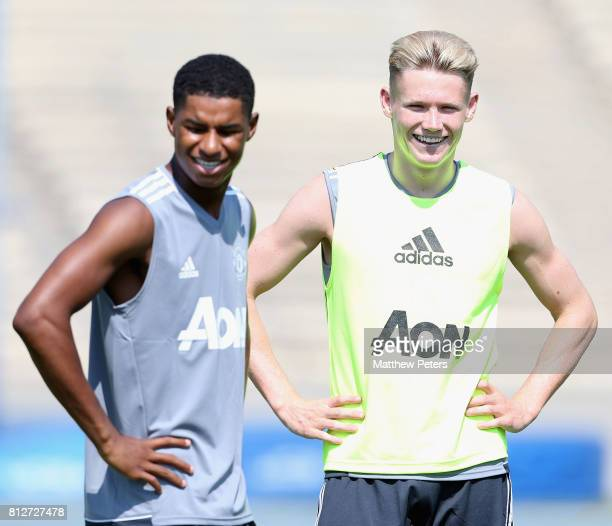 Marcus Rashford and Scott McTominay of Manchester United in action during a first team training session as part of the club's preseason tour of the...