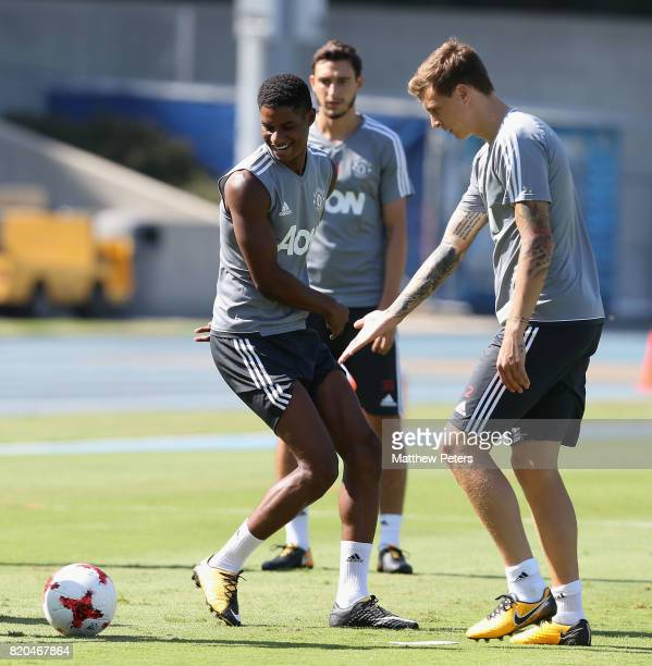 Marcus Rashford and Victor Lindelof of Manchester United in acton during a first team training session as part of their preseason tour of the USA at...