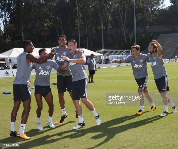 Marcus Rashford Chris Smalling Jesse Lingard Phil Jones Victor Lindelof and Daley Blind of Manchester United in acton during a first team training...