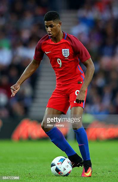 Marcus Rashford in action during the International Friendly match between England and Australia at Stadium of Light on May 27 2016 in Sunderland...