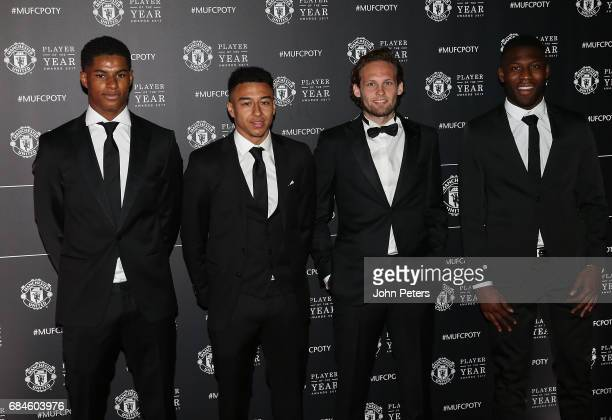 Marcus Rashford Jesse Lingard Daley Blind and Timothy FosuMensah of Manchester United arrive at the club's annual Player of the Year awards at Old...