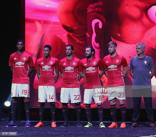 Marcus Rashford Jesse Lingard Henrikh Mkhitaryan Juan Mata Luke Shaw and Manager Jose Mourinho of Manchester United pose during the official launch...