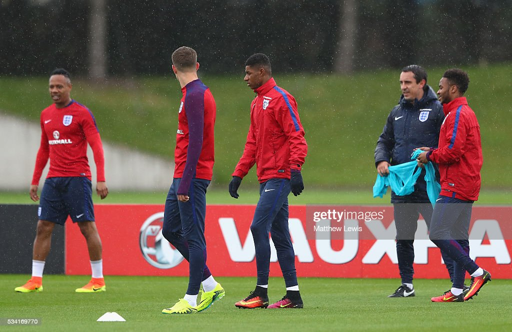 <a gi-track='captionPersonalityLinkClicked' href=/galleries/search?phrase=Marcus+Rashford&family=editorial&specificpeople=13847707 ng-click='$event.stopPropagation()'>Marcus Rashford</a> looks on during the England training session at Manchester City Football Academy on May 25, 2016 in Manchester, England.
