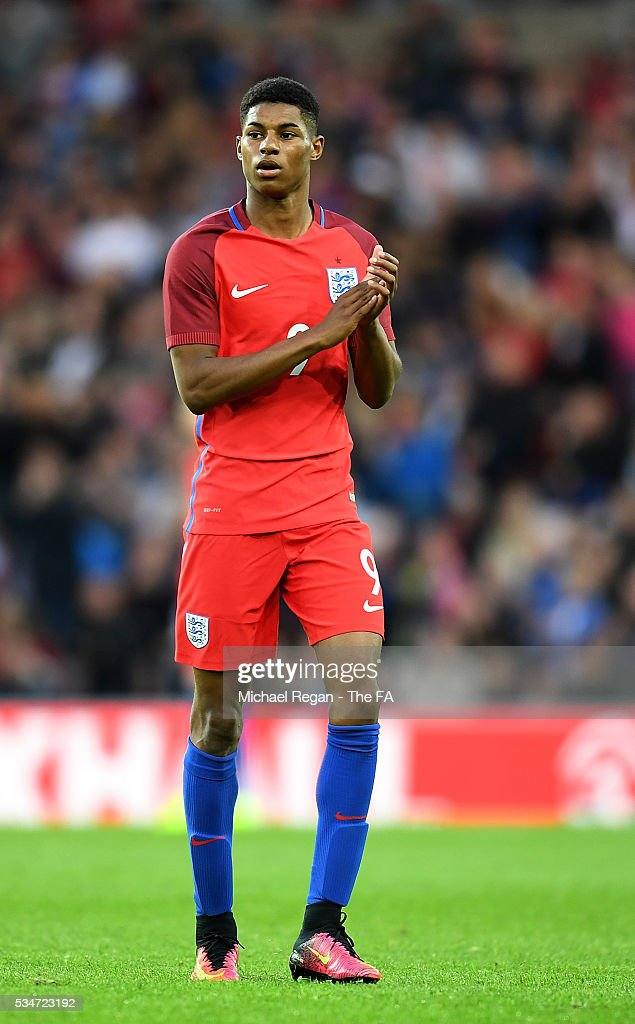 <a gi-track='captionPersonalityLinkClicked' href=/galleries/search?phrase=Marcus+Rashford&family=editorial&specificpeople=13847707 ng-click='$event.stopPropagation()'>Marcus Rashford</a> of England applauds fans after being substituted during the International Friendly match between England and Australia at Stadium of Light on May 27, 2016 in Sunderland, England.