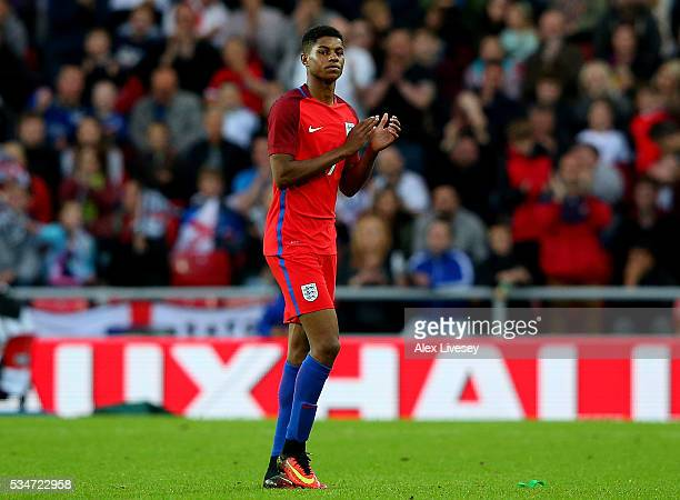 Marcus Rashford of England applauds the fans during the International Friendly match between England and Australia at Stadium of Light on May 27 2016...