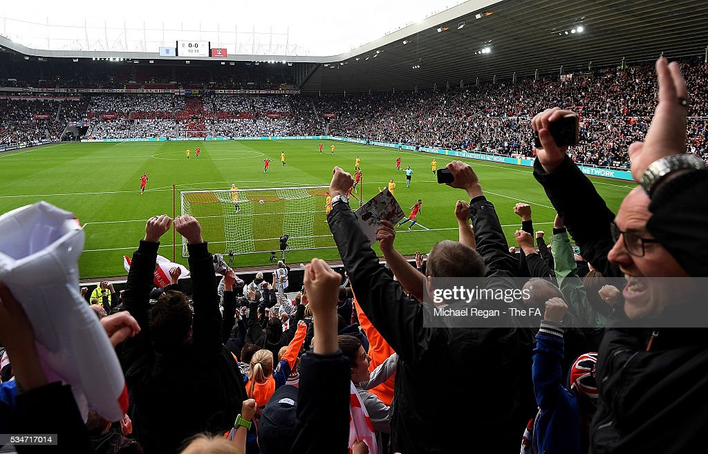 <a gi-track='captionPersonalityLinkClicked' href=/galleries/search?phrase=Marcus+Rashford&family=editorial&specificpeople=13847707 ng-click='$event.stopPropagation()'>Marcus Rashford</a> of England celebrates after scoring the opening goal of the game during the International Friendly match between England and Australia at Stadium of Light on May 27, 2016 in Sunderland, England.