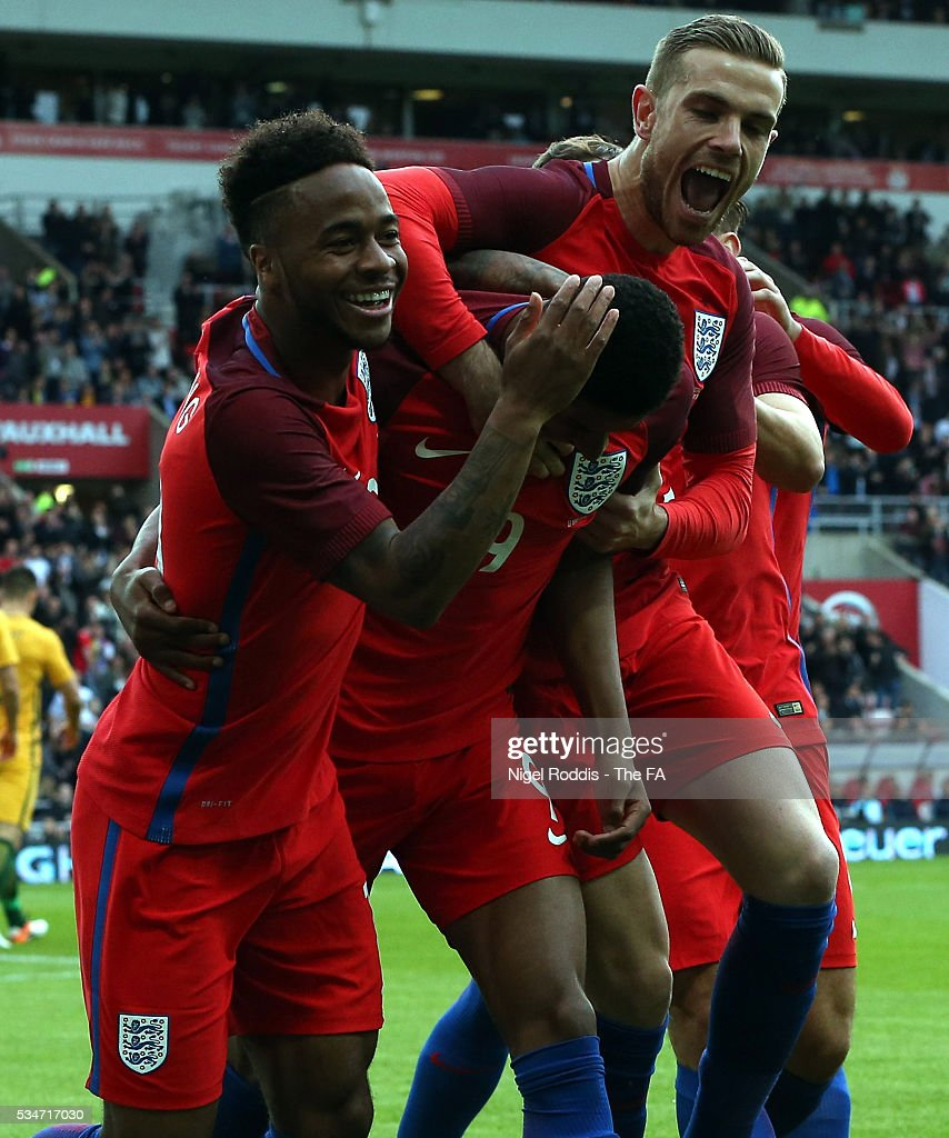 <a gi-track='captionPersonalityLinkClicked' href=/galleries/search?phrase=Marcus+Rashford&family=editorial&specificpeople=13847707 ng-click='$event.stopPropagation()'>Marcus Rashford</a> (2nd L) of England celebrates scoring the opening goal with team-mates during the International Friendly match between England and Australia at Stadium of Light on May 27, 2016 in Sunderland, England.