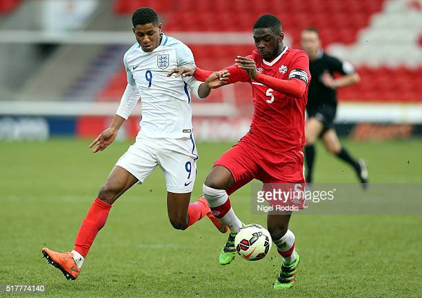 Marcus Rashford of England challenged by Fikayo Tomori of Canada during the U20 International Friendly match between England and Canada at the...