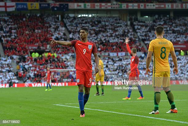 Marcus Rashford of England gestures to a team mate during the International Friendly match between England and Australia at Stadium of Light on May...