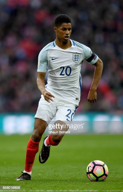 Marcus Rashford of England in action during the FIFA 2018 World Cup Qualifier between England and Lithuania at Wembley Stadium on March 26 2017 in...