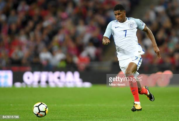 Marcus Rashford of England in action during the FIFA 2018 World Cup Qualifier between England and Slovakia at Wembley Stadium on September 4 2017 in...