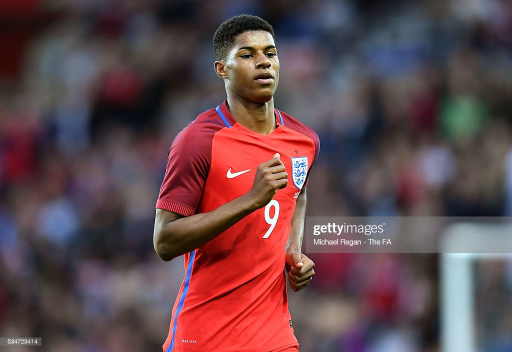 <a gi-track='captionPersonalityLinkClicked' href=/galleries/search?phrase=Marcus+Rashford&family=editorial&specificpeople=13847707 ng-click='$event.stopPropagation()'>Marcus Rashford</a> of England in action during the International Friendly match between England and Australia at Stadium of Light on May 27, 2016 in Sunderland, England.