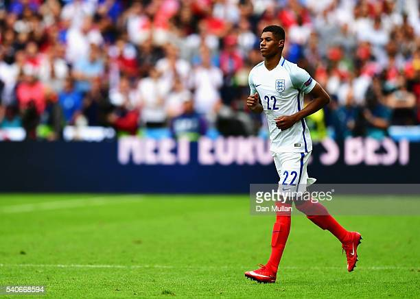Marcus Rashford of England in action during the UEFA EURO 2016 Group B match between England and Wales at Stade BollaertDelelis on June 16 2016 in...