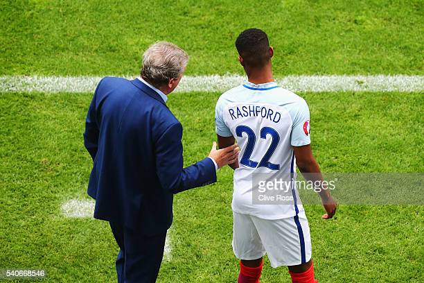 Marcus Rashford of England is instructed by manager Roy Hodgson during the UEFA EURO 2016 Group B match between England and Wales at Stade...