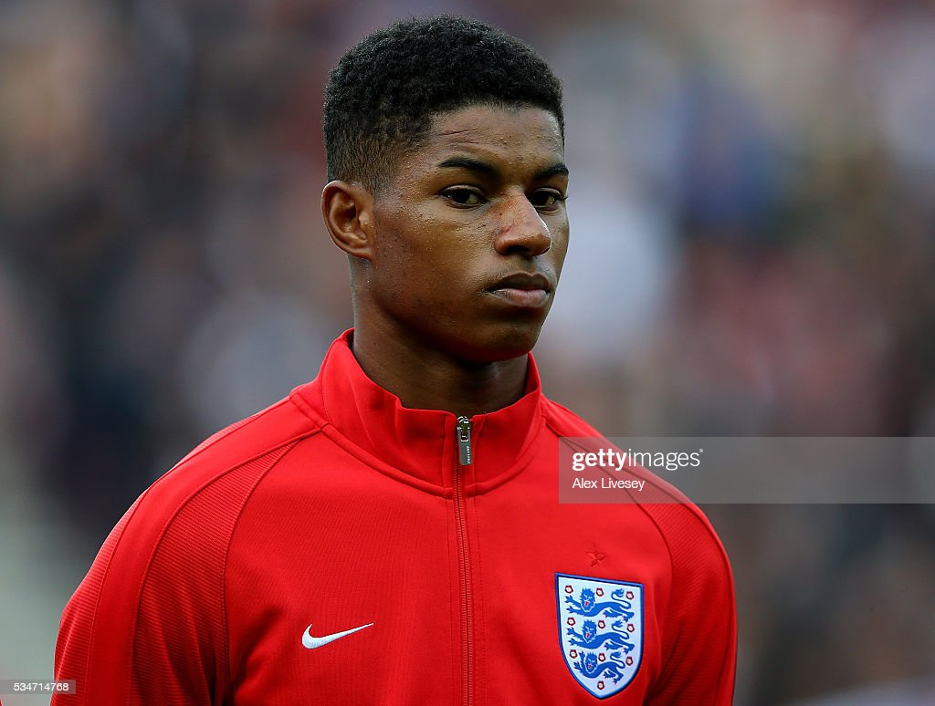 <a gi-track='captionPersonalityLinkClicked' href=/galleries/search?phrase=Marcus+Rashford&family=editorial&specificpeople=13847707 ng-click='$event.stopPropagation()'>Marcus Rashford</a> of England looks on ahead of the International Friendly match between England and Australia at Stadium of Light on May 27, 2016 in Sunderland, England.