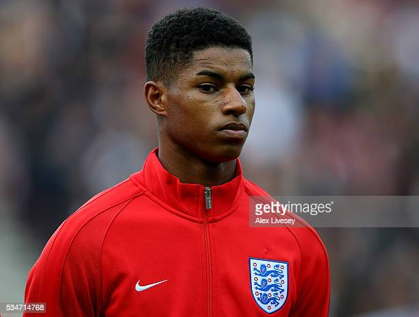 Marcus Rashford of England looks on ahead of the International Friendly match between England and Australia at Stadium of Light on May 27 2016 in...
