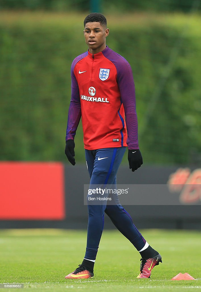 <a gi-track='captionPersonalityLinkClicked' href=/galleries/search?phrase=Marcus+Rashford&family=editorial&specificpeople=13847707 ng-click='$event.stopPropagation()'>Marcus Rashford</a> of England looks on during an England training session at London Colney on May 30, 2016 near St Albans, England.