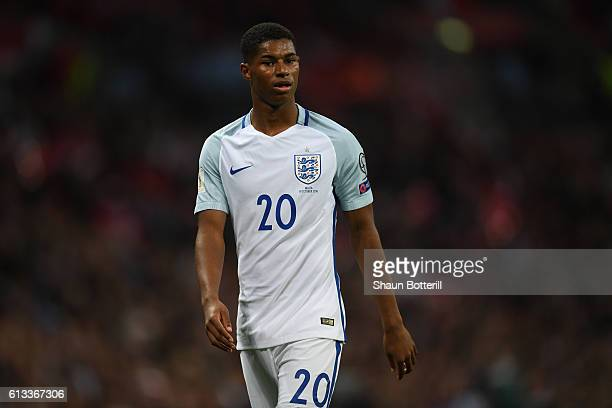 Marcus Rashford of England looks on during the FIFA 2018 World Cup Qualifier Group F match between England and Malta at Wembley Stadium on October 8...