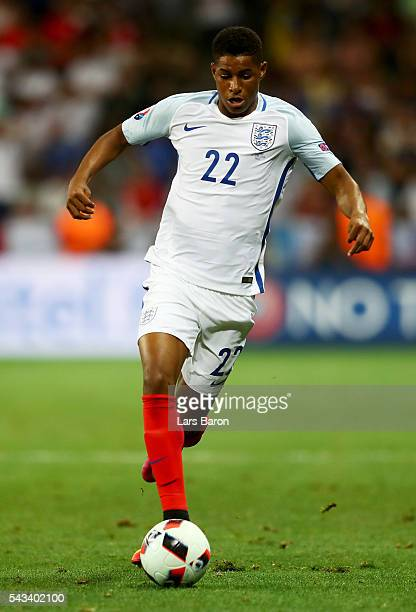 Marcus Rashford of England runs with the ball during the UEFA EURO 2016 round of 16 match between England and Iceland at Allianz Riviera Stadium on...