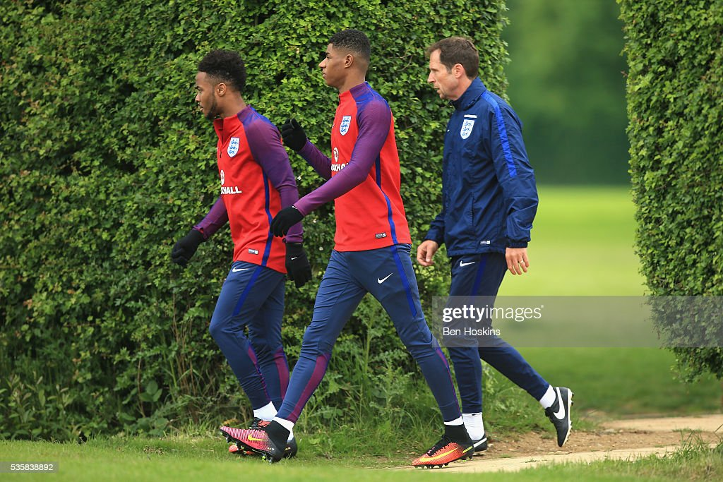 <a gi-track='captionPersonalityLinkClicked' href=/galleries/search?phrase=Marcus+Rashford&family=editorial&specificpeople=13847707 ng-click='$event.stopPropagation()'>Marcus Rashford</a> of England walks out during an England training session at St Georges Park on May 30, 2016 in Burton on Trent, England.