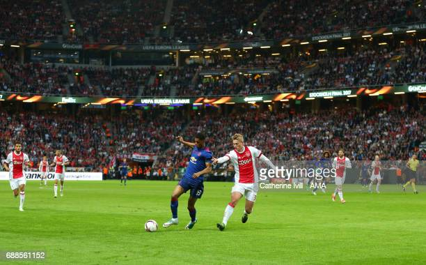 Marcus Rashford of Manchester United and Matthijs de Ligt of Ajax during the UEFA Europa League Final match between Ajax and Manchester United at...