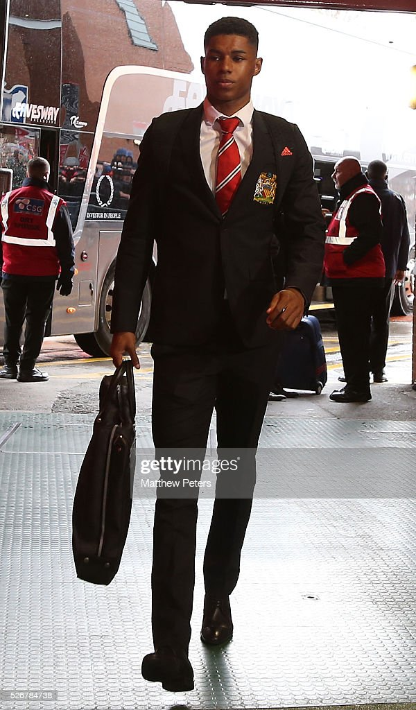 Marcus Rashford of Manchester United arrives at Old Trafford ahead of the Barclays Premier League match between Manchester United and Leicester City at Old Trafford on May 1, 2016 in Manchester, England.