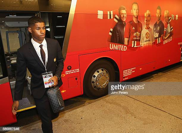 Marcus Rashford of Manchester United arrives at Wembley Stadium ahead of the FA Community Shield match between Leicester City and Manchester United...