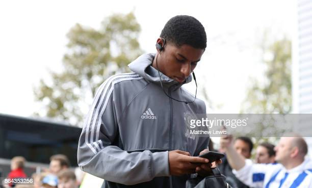 Marcus Rashford of Manchester United arrives for the Premier League match between Huddersfield Town and Manchester United at John Smith's Stadium on...