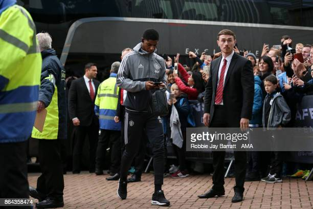 Marcus Rashford of Manchester United arrives prior to the Premier League match between Huddersfield Town and Manchester United at John Smith's...