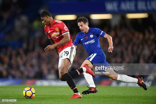 Marcus Rashford of Manchester United attempts to get past Cesar Azpilicueta of Chelsea during the Premier League match between Chelsea and Manchester...