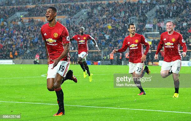 Marcus Rashford of Manchester United celebrates scoring his sides first goal during the Premier League match between Hull City and Manchester United...