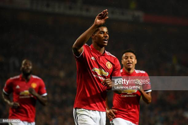 Marcus Rashford of Manchester United celebrates scoring his sides third goal during the UEFA Champions League Group A match between Manchester United...