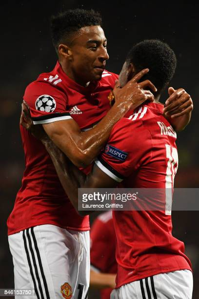 Marcus Rashford of Manchester United celebrates scoring his sides third goal with Jesse Lingard of Manchester United during the UEFA Champions League...