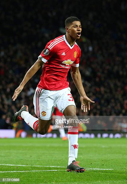 Marcus Rashford of Manchester United celebrates scoring his team's second goal during the UEFA Europa League Round of 32 second leg match between...