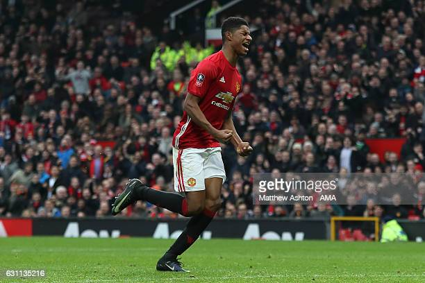 Marcus Rashford of Manchester United celebrates scoring his team's third goal to make the score 30 during the Emirates FA Cup third round match...