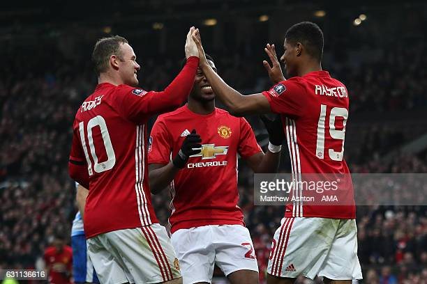 Marcus Rashford of Manchester United celebrates scoring his team's fourth goal to make the score 40 with his teammates during the Emirates FA Cup...